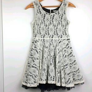 Newberry Cream Lace Overlay on Black Dress Size L